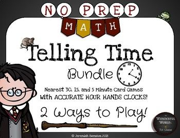 Check out this NO PREP MEGA PACK to help your muggles master telling time! This pack includes games to help students read analog clocks to the nearest 30, 15, or 5 minutes. Each level of understanding includes 2 BEST SELLING games totalling 6 games in all!