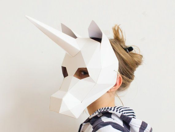 Printable Unicorn mask for kids, paper animal mask for children, Instant Pdf download, DIY Unicorn