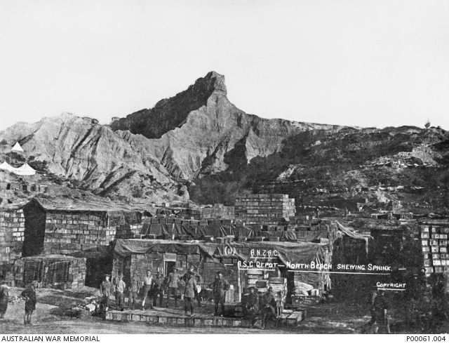 "Gallipoli, 1915, ASC Depot, North Beach showing ""Sphinx"", Australian War Memorial P00061.004"