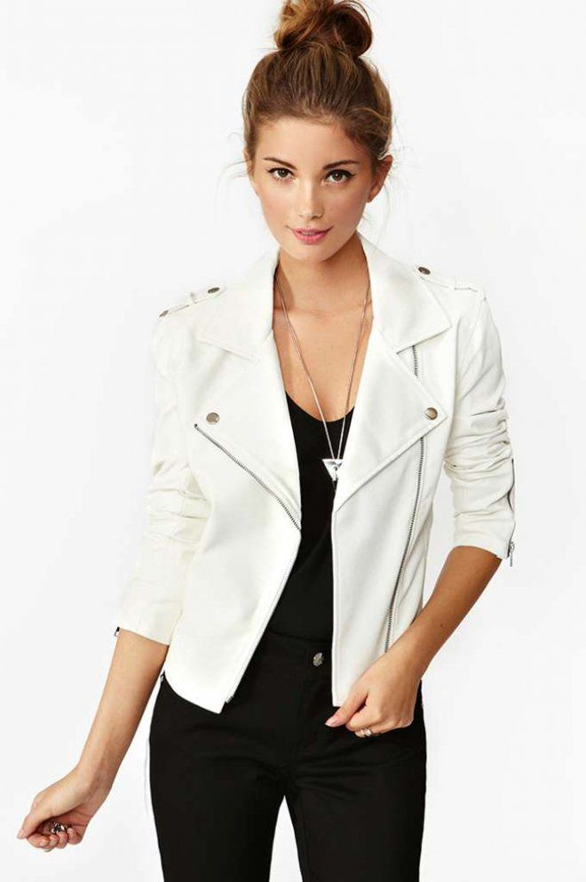17 Best images about white leather jacket on Pinterest ...