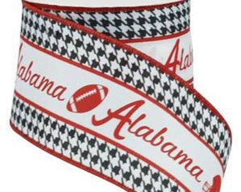 RIBBON - Wired Ribbon - Alabama Ribbon - Crimson Tide - Football Ribbon - Roll Tide - Wreath - RG1755
