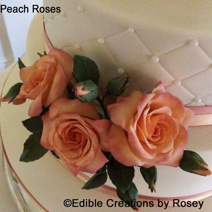 Pink and peach sugarpaste roses by Edible Creations by Rosey