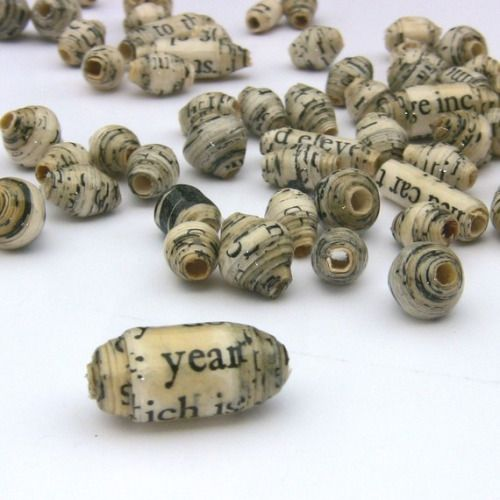 alaaddinsmagiclamp: Recycled Paper Beads 30 pcs: Whole Whirld Poetry Assortment, Black and Cream Vintage Look MADE TO ORDER