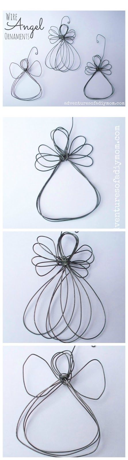 How to Make a Wire Angel Ornament - easy tutorial shows how to make this cute ornament - via Adventures of a DIY Mom
