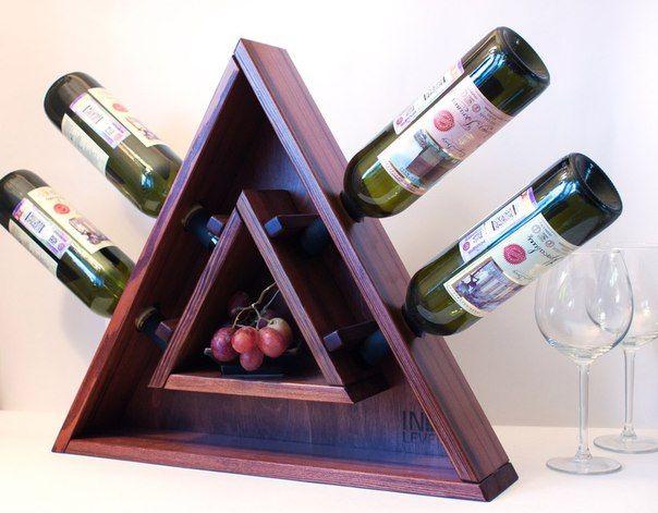 """Винная полка """"Треугольник"""" из натурального дерева"""