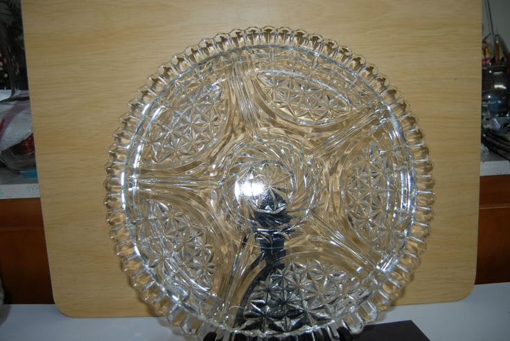 12 Quot Relish Plate 6 Sections Diamond Cut Look Scalloped