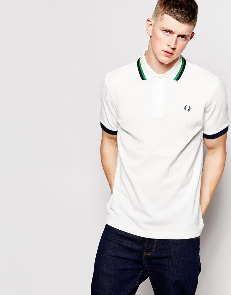 Fred Perry Polo Shirt with Twin Tip in Snow White