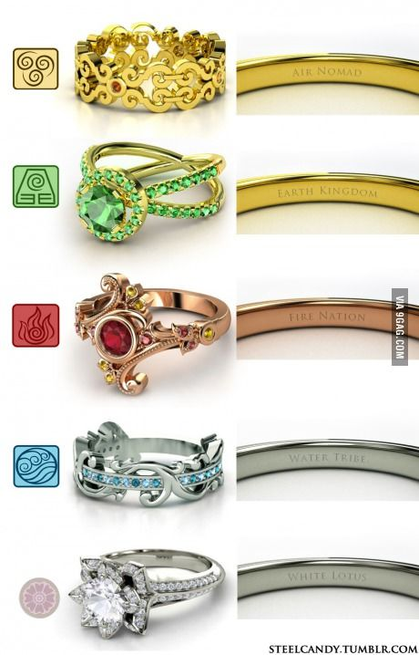 In response to the nerd rings, I give you the Last Airbender rings!