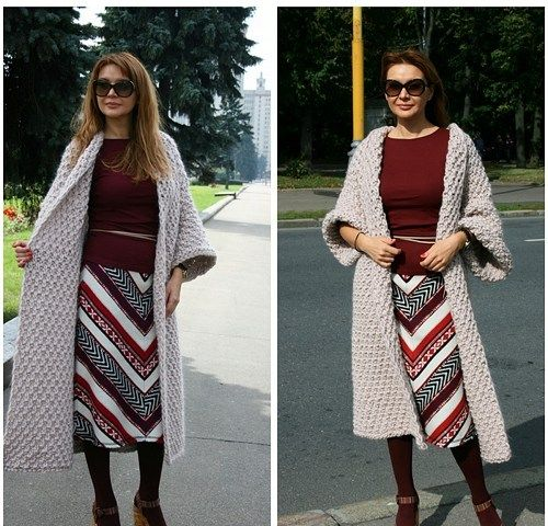 Made to order!Elegant and warm coat Women / hand knitting /