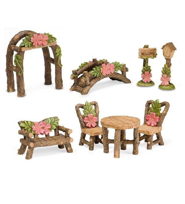 Main image for Miniature Fairy Garden Hibiscus Furniture Accessories, 8-Piece Set
