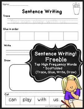 ~ Sentence Writing FREEBIE ~ A perfect way to practice  sentence writing and the top sight words together! These templates scaffold sentence writing for new writers.
