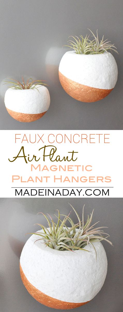 Faux Concrete Magnetic Air Plant Hanger, air plant orb, magnetic orb, copper planter, round planter, concrete made from foam, air plant hold via @madeinaday