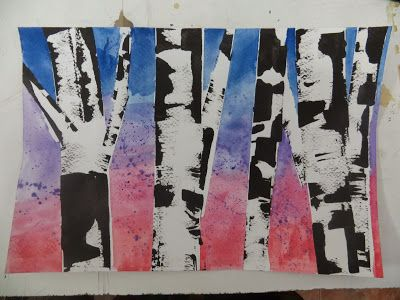 Art Relief International Volunteer Blog: Creating Birch Trees with Ink and Credit Cards