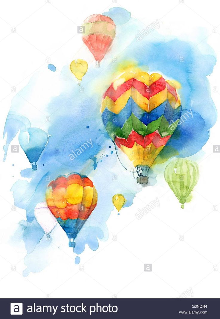 Hot Air Balloon Festival Colorful Watercolor Background Illustration Stock Photo, Royalty Free Image: 105578008 - Alamy
