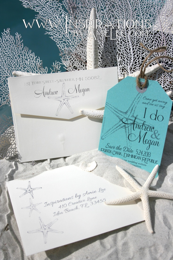 """""""Tiffany blue"""" save the date luggage tags"""