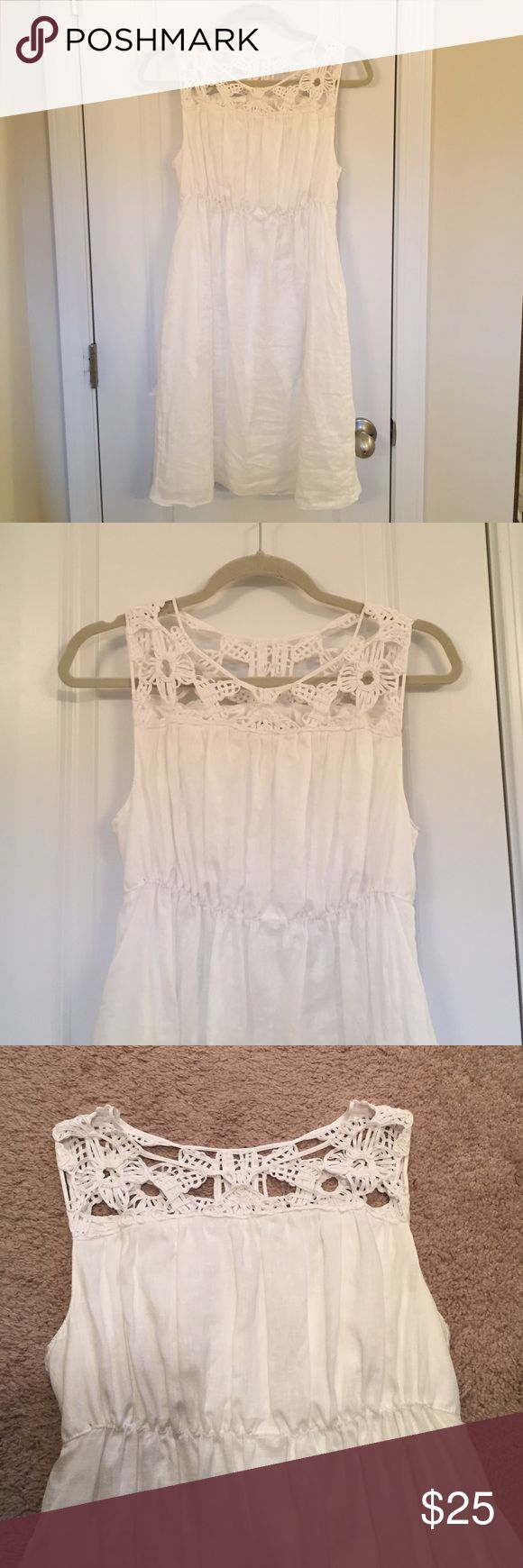 white crocheted top Sophie Max dress White linen Sophie Max dress. Top neck of dress is crocheted. Only worn once for a few hours. Shell is 100% linen. Lining is 97% polyester 3% spandex. Sophie Max Dresses