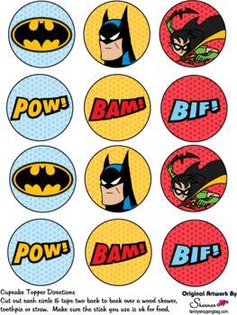 Cupcake Decoration, Batman, Favor Box - Free Printable Ideas from Family Shoppingbag.com
