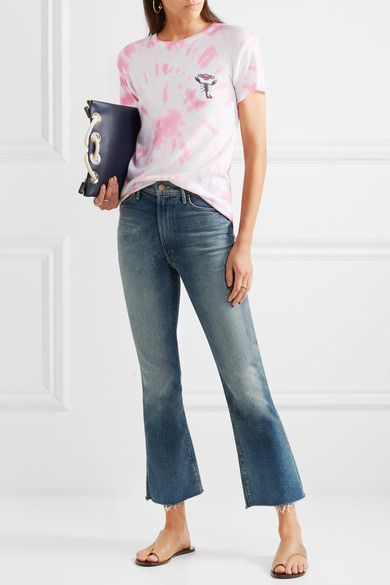The Elder Statesman - Printed Tie-dye Silk And Cashmere-blend T-shirt - Pink -