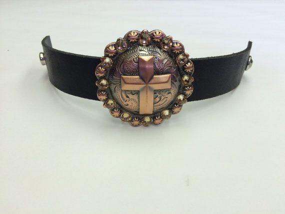 Concho cuff bracelet Cross Concho Bracelet by StarBoundWestern