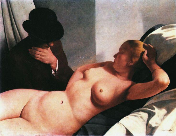 felice casorati ~ Entitled 'A Modest Conversation' ~ certainly a, modest title for such a depiction ...