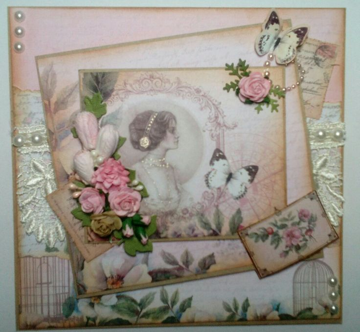 Vintage style card using Magnolia Lane Papers by Ultimate Crafts
