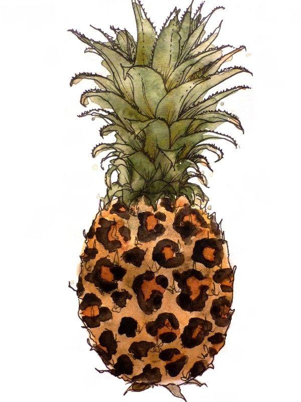 Watercolour Pineapple leopard print