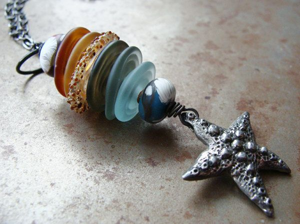 Starfish and Sea Glass Pendant Necklace.