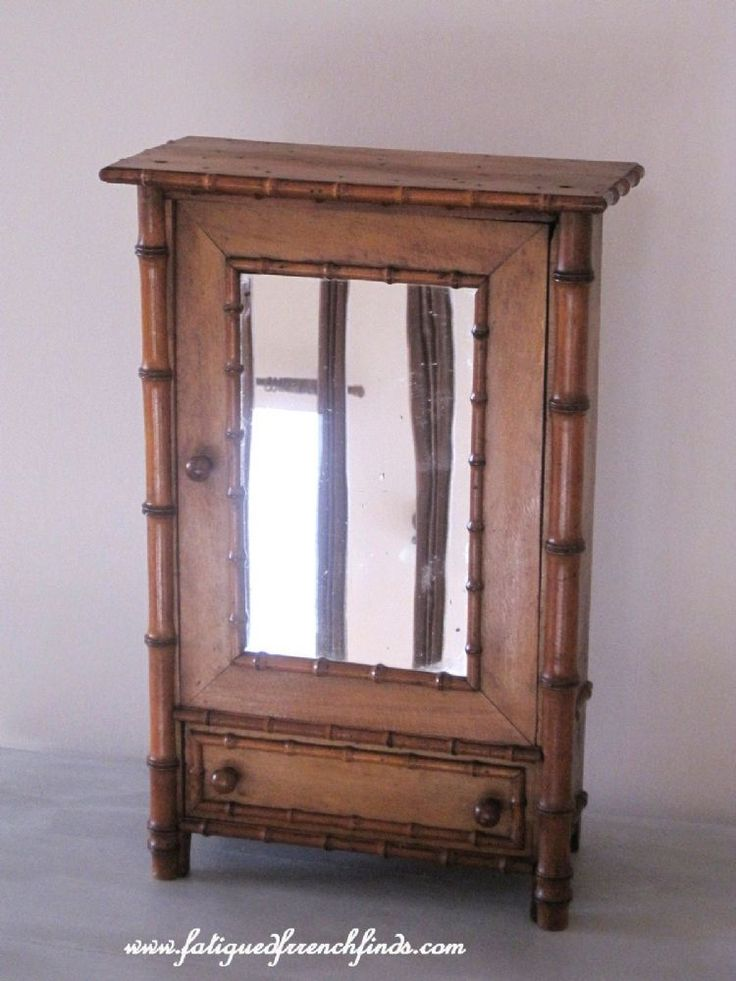 Antique French Faux Bamboo Dolls Mirror Armoire www.fatiguedfrenchfinds.com