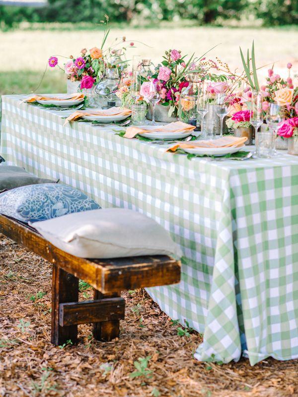 checkered tablecloth - photo by Pasha Belman Photography http://ruffledblog.com/bohemian-styled-southern-wedding-inspiration