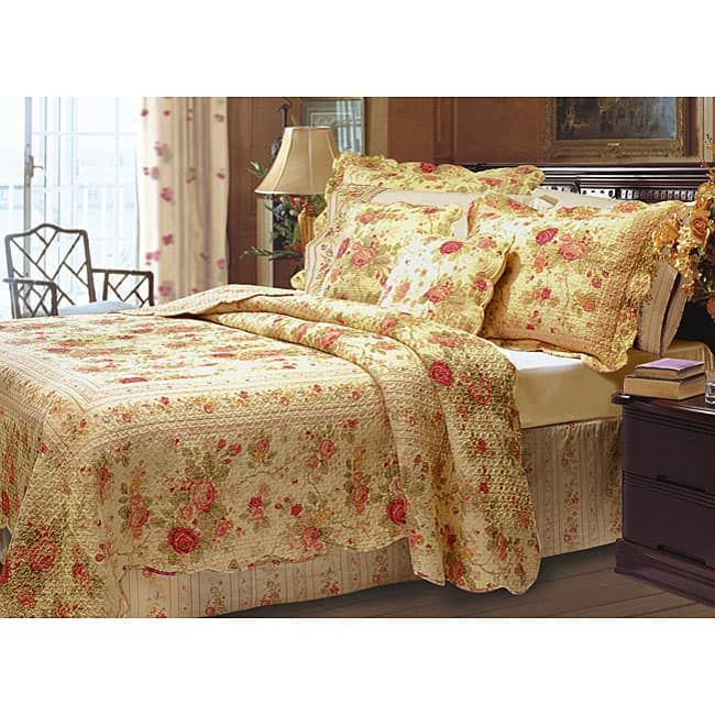 Greenland Home Fashions Antique Rose Quilted Pillow Shams