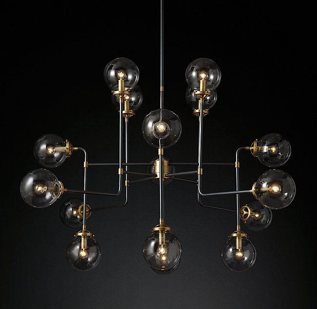Bistro Globe Clear Glass Chandelier 16 Light Linear