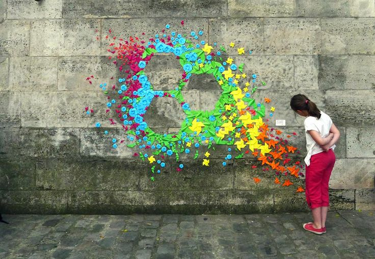 Origami is such a treasured art - seeing it combined with gritty urban textures...truly inspiring.: Origami Installations, Paper, Street Art, Origami Street, Artist Mademoiselle, Design, Streetart