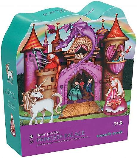 """32-piece puzzle. A magical princess palace puzzle in an enchanting castle shaped box. These great puzzles have oversized-pieces that are perfect for little fingers and create ongoing learning and fun!Large 27"""" X 20"""" shaped puzzle. Boxes are approximately 10.5 """"L x 11"""" H x 3""""W. Ages 3+. #castle #floorpuzzle #crocodilecreek #Princess"""