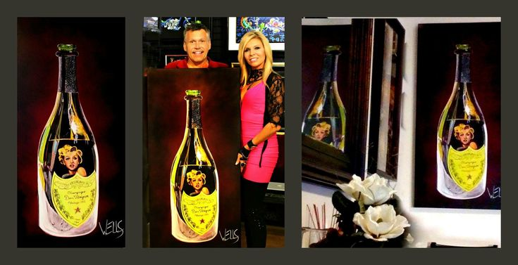 """Stacey Wells posing with art collector with """"Gentlemen Prefer Dom"""" a painting of a Dim Perignon Bottle reflecting Marilyn Monroe. Original art, reflecting good times had with music and wine,essentially capturing time in a bottle. Collect the series www.artistwells.com #staceywells #marilynmonroe #domperignon #champagne"""