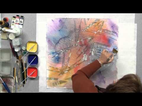 Linda Baker creates a gorgeously colorful painting using 3 primary colors, lots of masking, and just a few simple pours