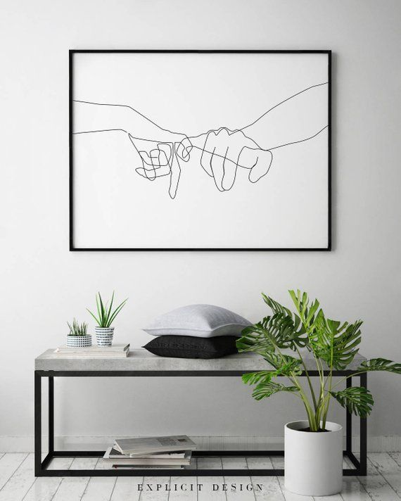 Pinky Swear Printable, One Line Drawing Print, Black White Hands Artwork, Hand Poster, Original Minimalist Couple Art, Minimal Fine Decor – Gundula Baumert