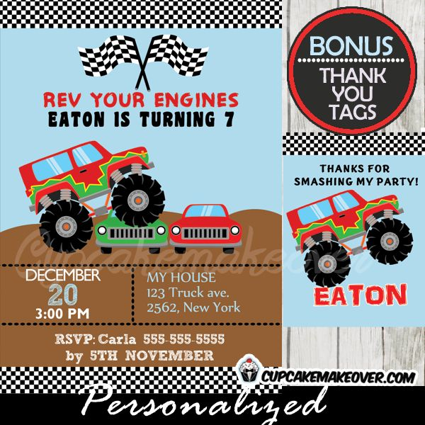 13 best monster truck birthday party printables images on, Party invitations
