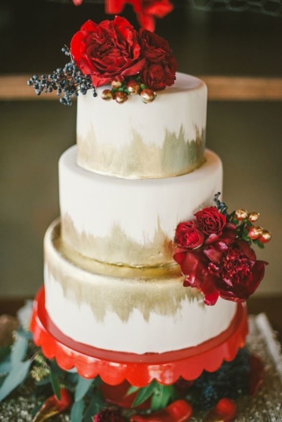 I like the flowers and gold on this cake - the flowers could honestly be any color to match your wedding colors