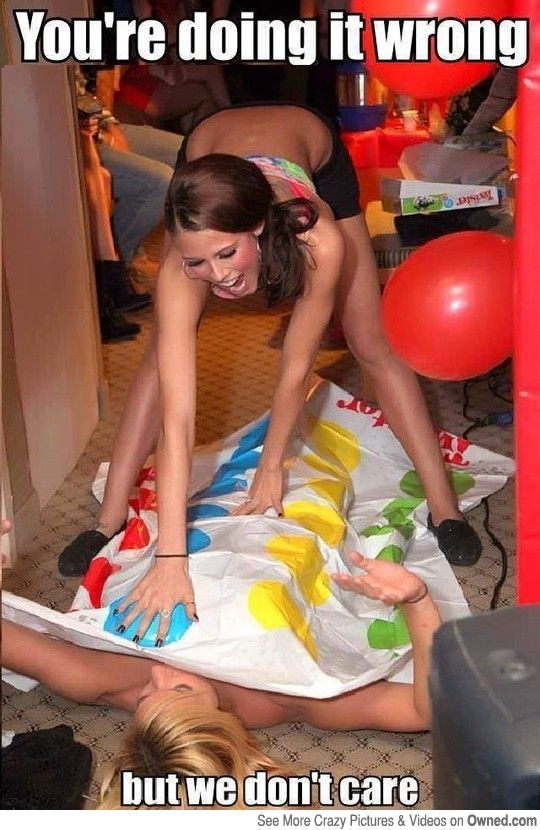 Naked girls playing twister game looking like gymnasts 7