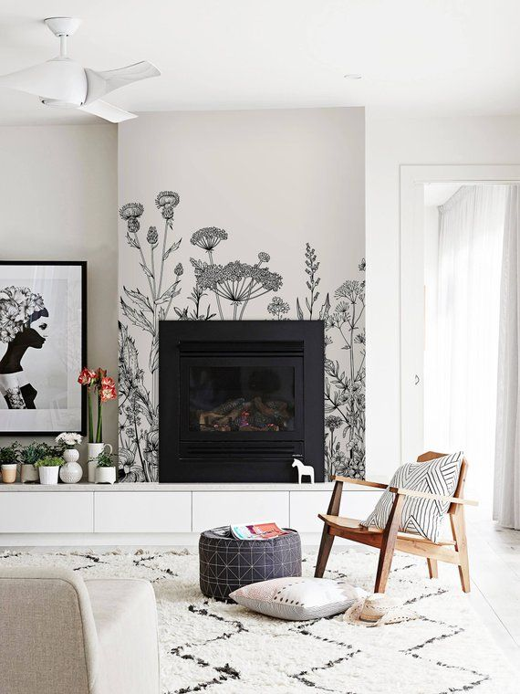 Field Flora Removable Wallpaper White Wall Mural Etsy Simple Fireplace Fireplace Design Living Room Scandinavian