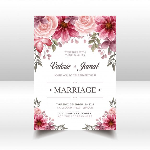 Luxury Red Wedding Invitation Card Template With Watercolor Floral Wedding Invitation Card Template Wedding Invitation Cards Red Wedding Invitations