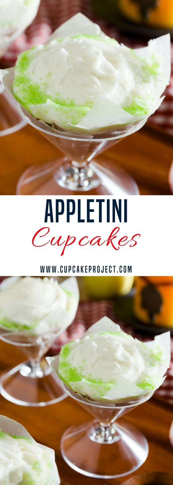 Cheers with this awesome cupcake recipe- the Appletini Cupcakes! How fun is it to be able to cheers with a cupcake?! More easy and from scratch baking recipes from #CupcakeProject #cupcake #food