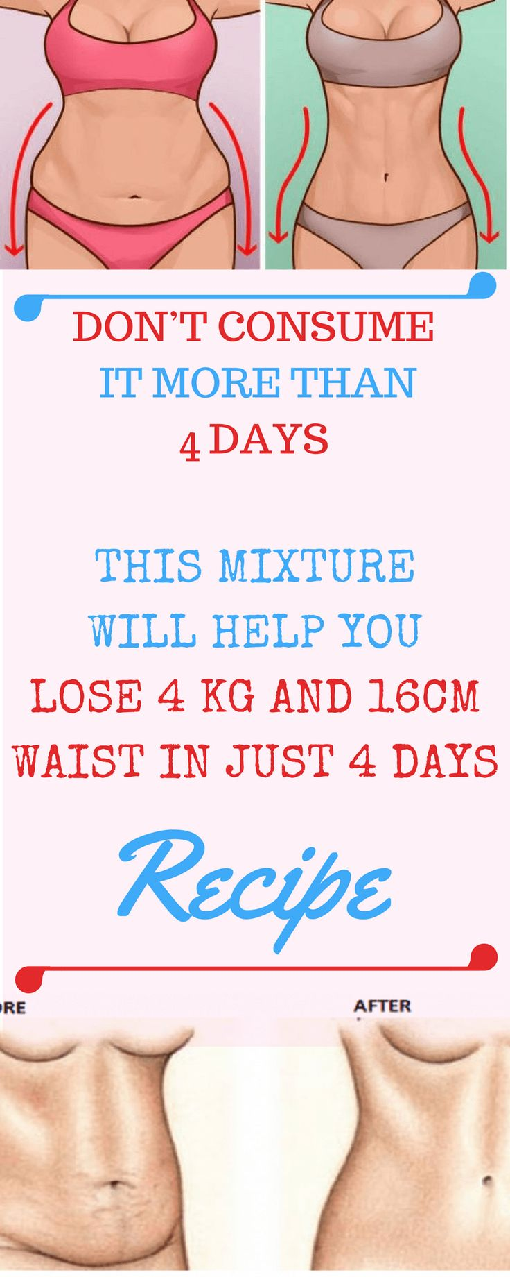 DON'T CONSUME IT MORE THAN 4 DAYS THIS MIXTURE WILL HELP YOU LOSE 4 KG AND 16CM WAIST IN JUST 4 DAYS- RECIPE