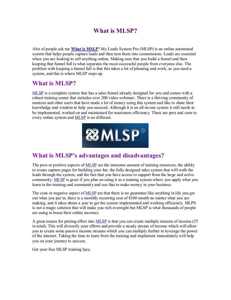 what-is-mlsp-20535795 by Yorkie Au via Slideshare