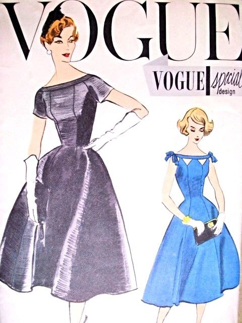 1950s Beautiful Day or Cocktail Evening Dress Pattern Vogue Special Design 4840 Fit and Flare Bateau Neckline With Striking Cutout Version Bust 35 Vintage Sewing Pattern