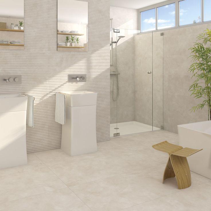Neutral bathroom rollins 3D effect wall