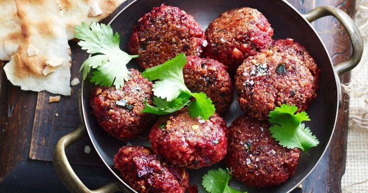 Serve these tasty chickpea and beetroot falafels with warm pita bread and delicious tahini dipping sauce.