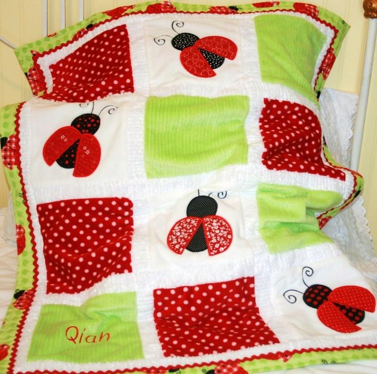 Ladybug Minky Appliqued Baby Blanket