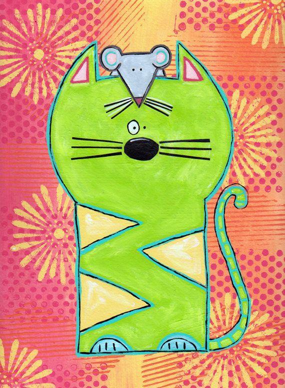 Cat Art-Cat Painting-Cat Decor-Whimsical Cats-Original-9 X 12