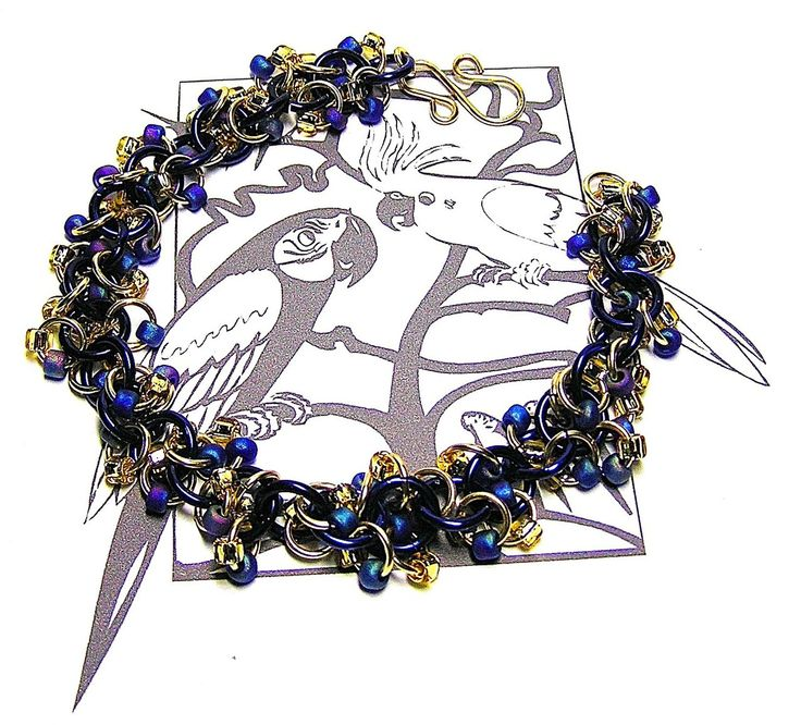 Hyacinth Macaw Chainmaille Bracelet - Enchanted Moon
